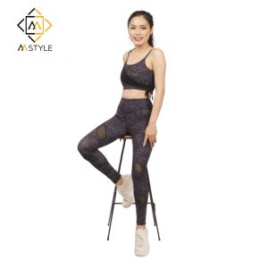 Set Đồ Tập Gym Yoga Nữ Áo Bra Quần Dài Kim Tuyến Cách Điệu OPY131